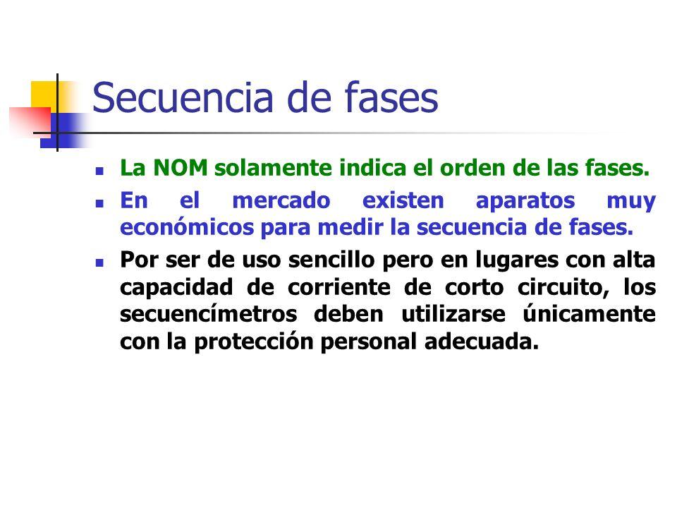 Secuencia de fases La NOM solamente indica el orden de las fases.