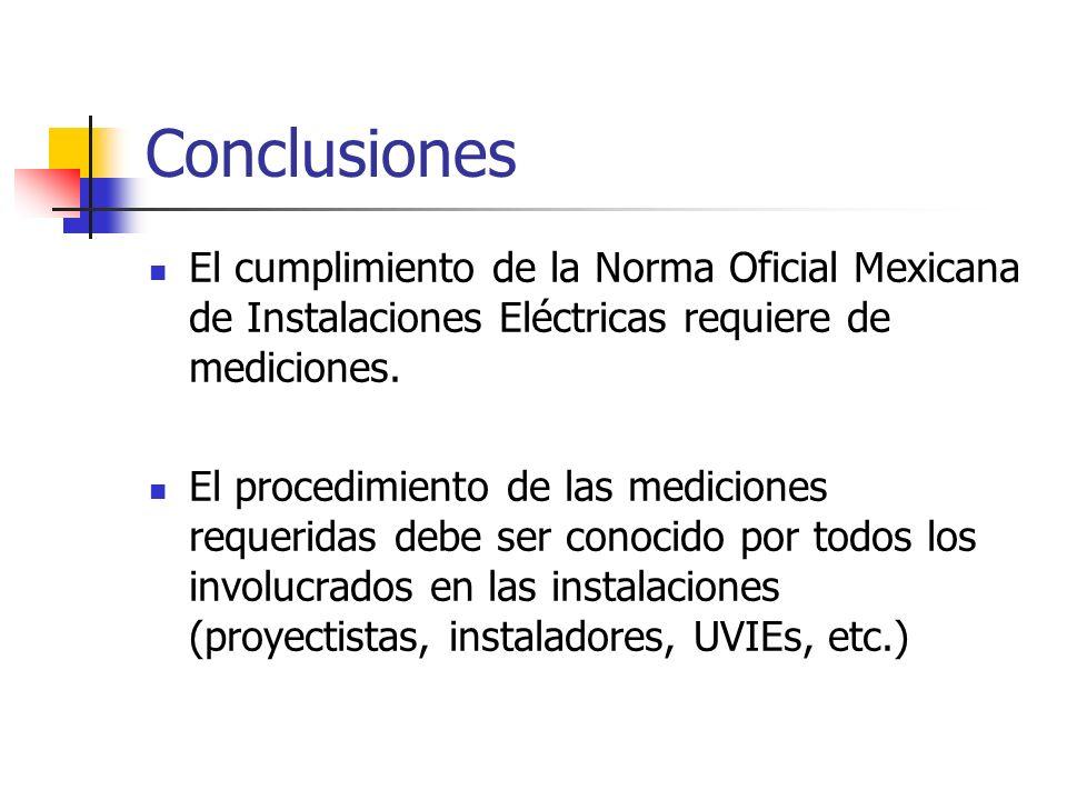 ConclusionesEl cumplimiento de la Norma Oficial Mexicana de Instalaciones Eléctricas requiere de mediciones.