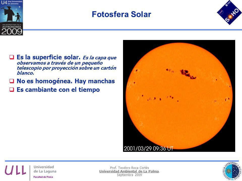 Fotosfera Solar Es la superficie solar. Es la capa que observamos a través de un pequeño telescopio por proyección sobre un cartón blanco.