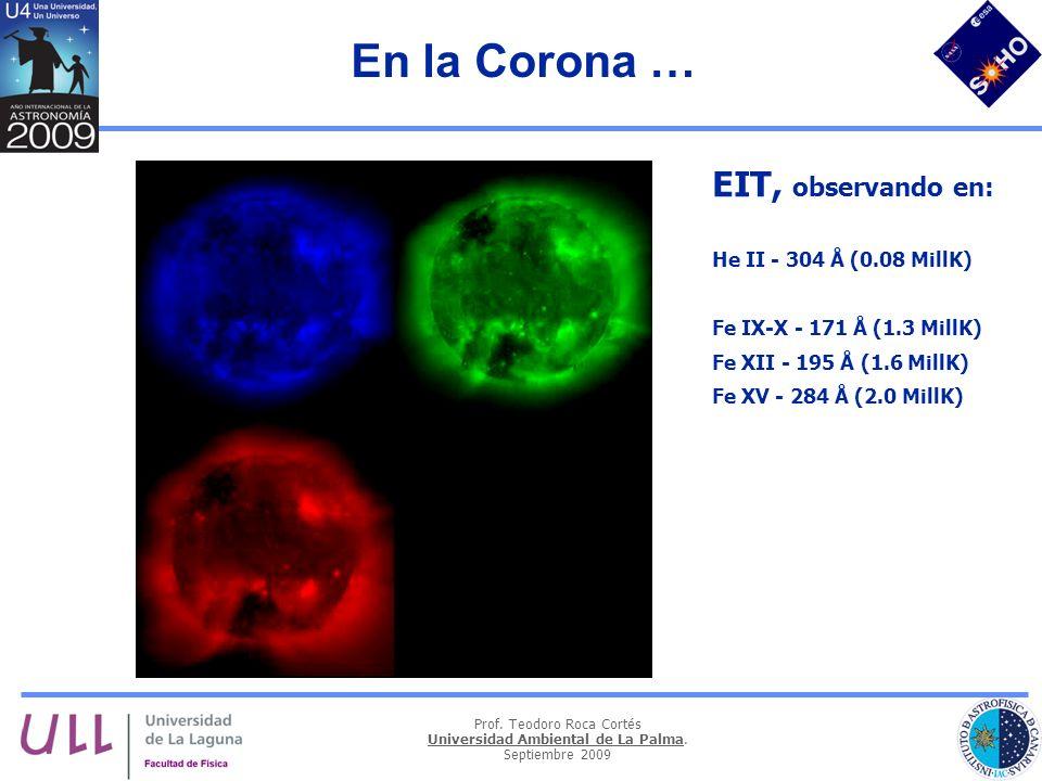 En la Corona … EIT, observando en: He II - 304 Å (0.08 MillK)