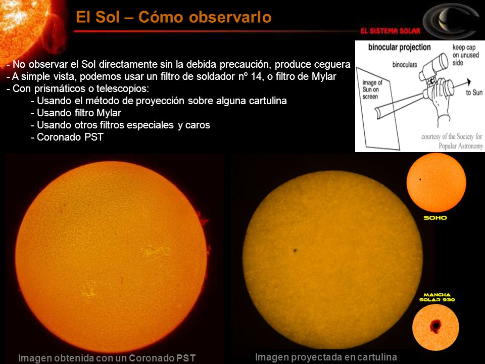 El Sol – Cómo observarlo