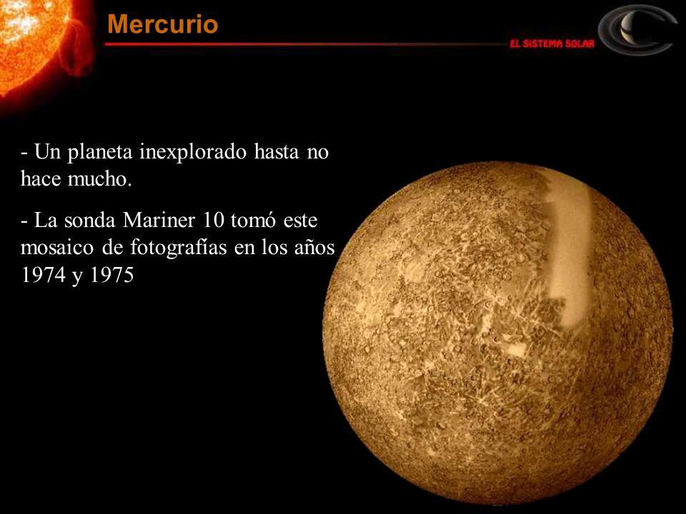Mercurio Un planeta inexplorado hasta no hace mucho.