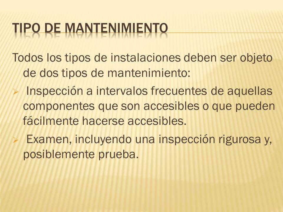 TIPO DE MANTENIMIENTO Todos los tipos de instalaciones deben ser objeto de dos tipos de mantenimiento:
