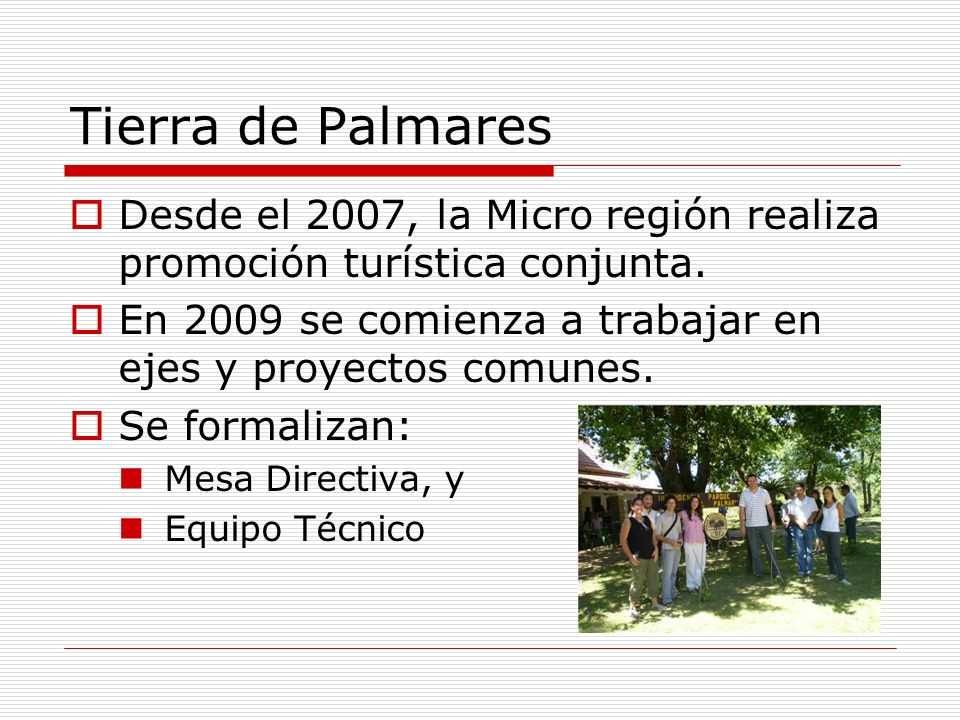 Tierra de Palmares Desde el 2007, la Micro región realiza promoción turística conjunta. En 2009 se comienza a trabajar en ejes y proyectos comunes.