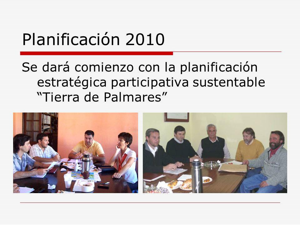 Planificación 2010 Se dará comienzo con la planificación estratégica participativa sustentable Tierra de Palmares