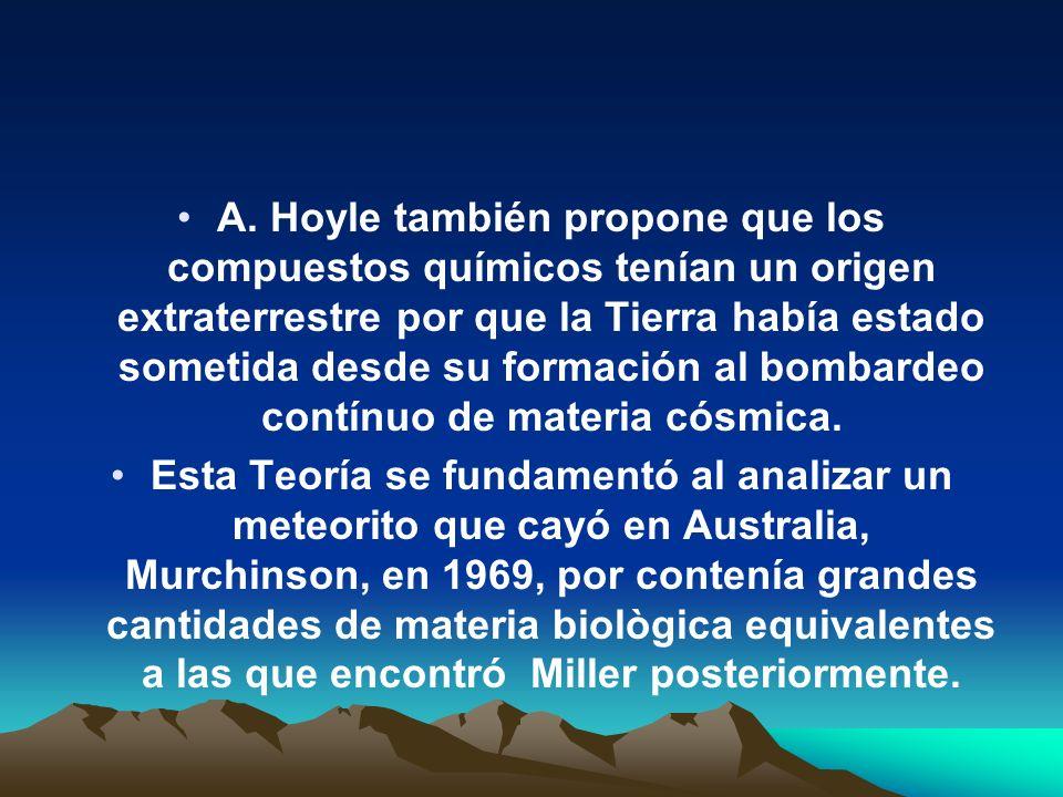 A. Hoyle también propone que los compuestos químicos tenían un origen extraterrestre por que la Tierra había estado sometida desde su formación al bombardeo contínuo de materia cósmica.