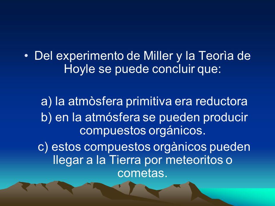 Del experimento de Miller y la Teorìa de Hoyle se puede concluir que: