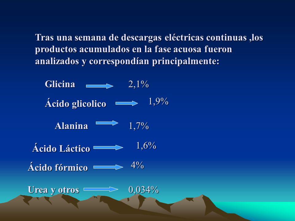 Tras una semana de descargas eléctricas continuas ,los productos acumulados en la fase acuosa fueron analizados y correspondían principalmente: