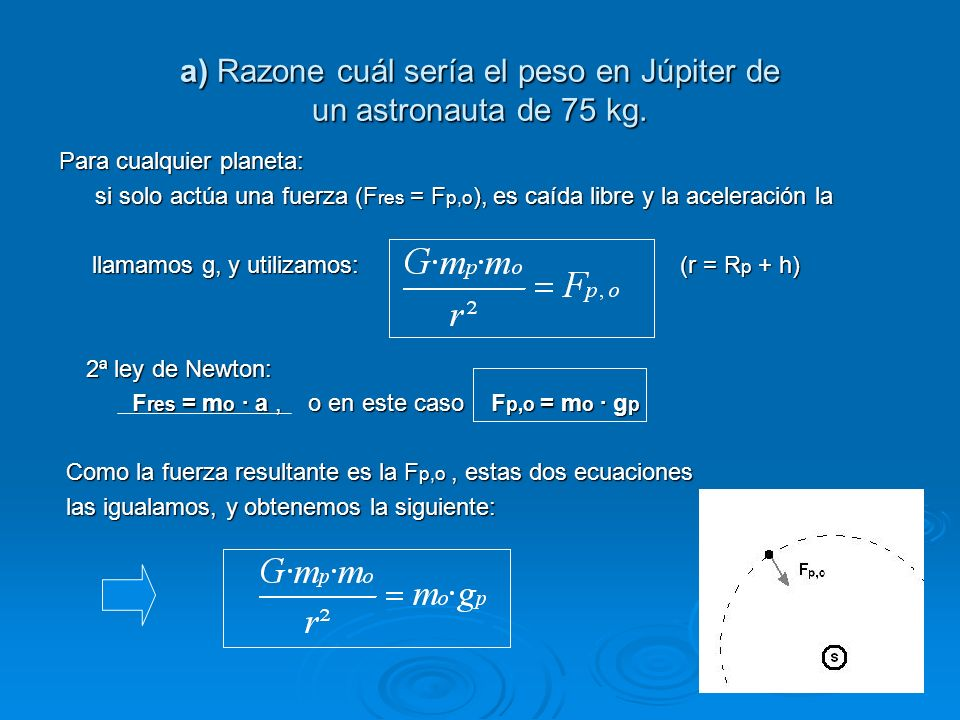 a) Razone cuál sería el peso en Júpiter de un astronauta de 75 kg.