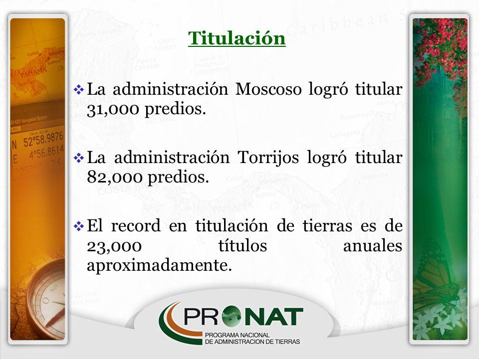 Titulación La administración Moscoso logró titular 31,000 predios.
