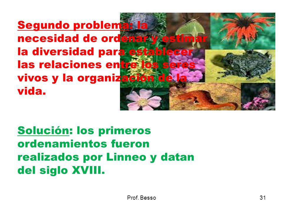 Segundo problema: la necesidad de ordenar y estimar la diversidad para establecer las relaciones entre los seres vivos y la organización de la vida.