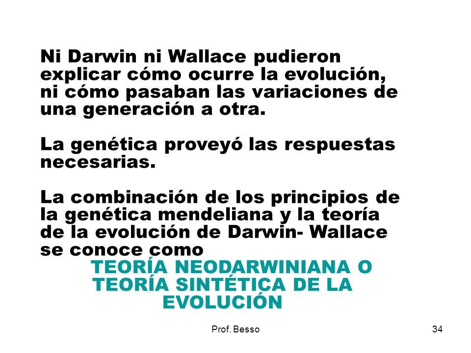 TEORÍA NEODARWINIANA O TEORÍA SINTÉTICA DE LA EVOLUCIÓN