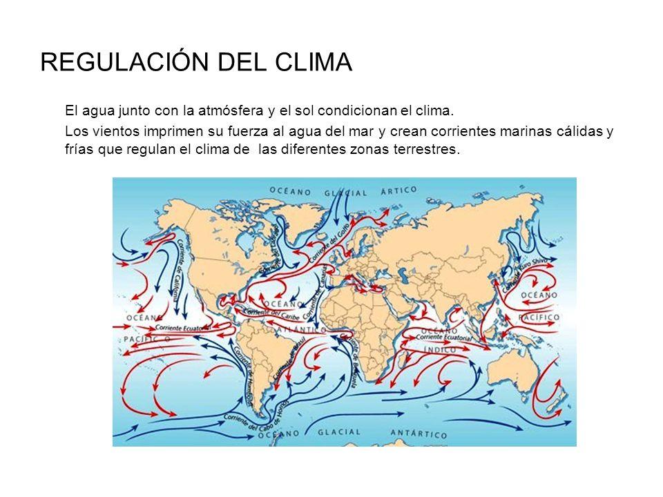 REGULACIÓN DEL CLIMA El agua junto con la atmósfera y el sol condicionan el clima.