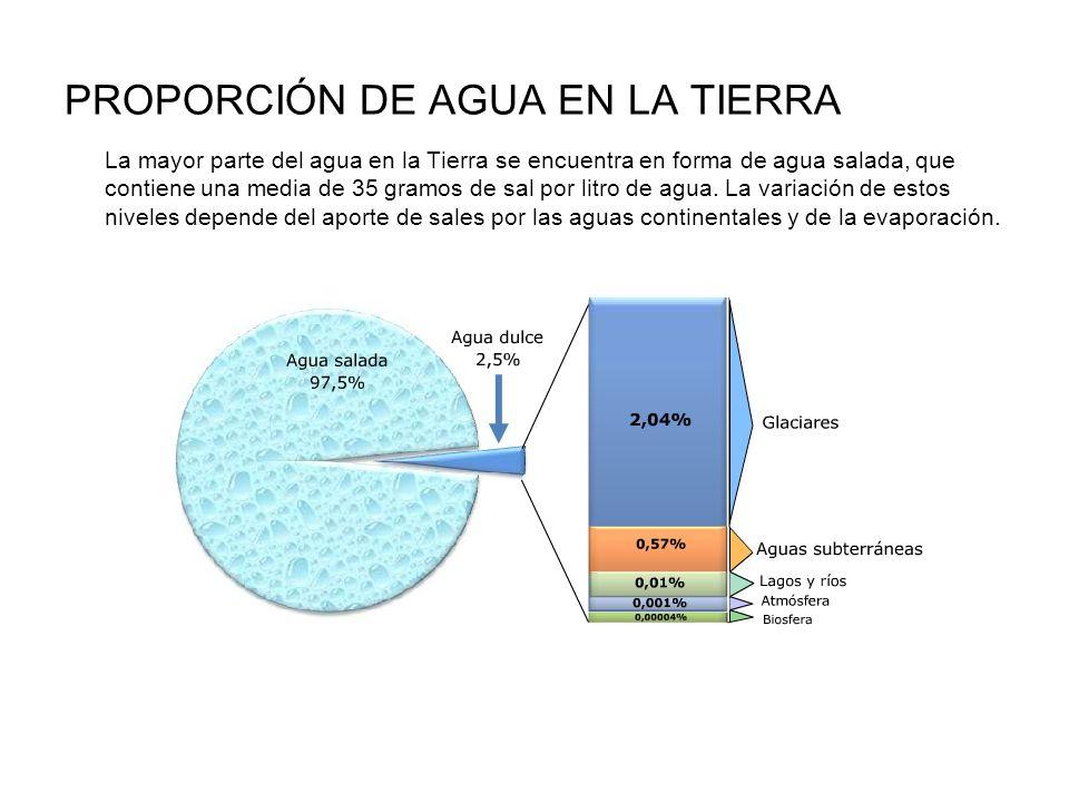 PROPORCIÓN DE AGUA EN LA TIERRA