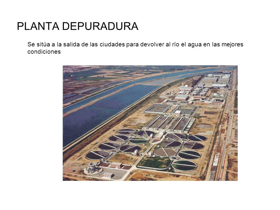 PLANTA DEPURADURA Se sitúa a la salida de las ciudades para devolver al río el agua en las mejores condiciones.