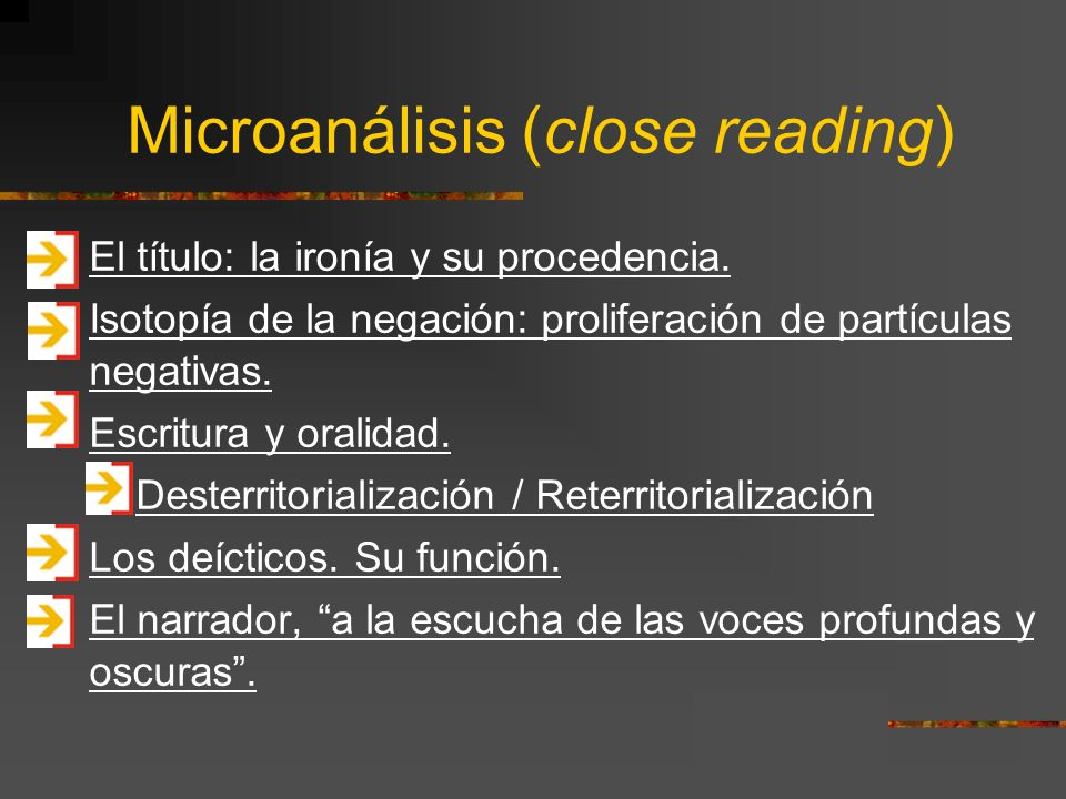 Microanálisis (close reading)