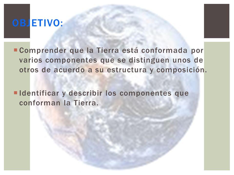 Objetivo: Comprender que la Tierra está conformada por varios componentes que se distinguen unos de otros de acuerdo a su estructura y composición.