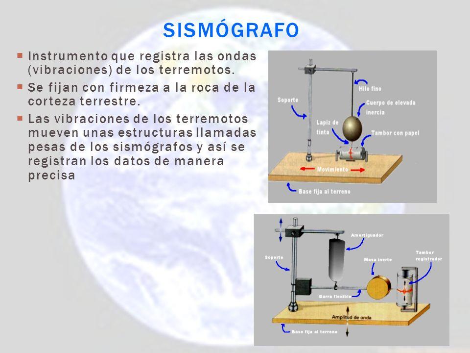Sismógrafo Instrumento que registra las ondas (vibraciones) de los terremotos. Se fijan con firmeza a la roca de la corteza terrestre.