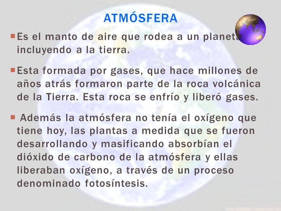Atmósfera Es el manto de aire que rodea a un planeta, incluyendo a la tierra.