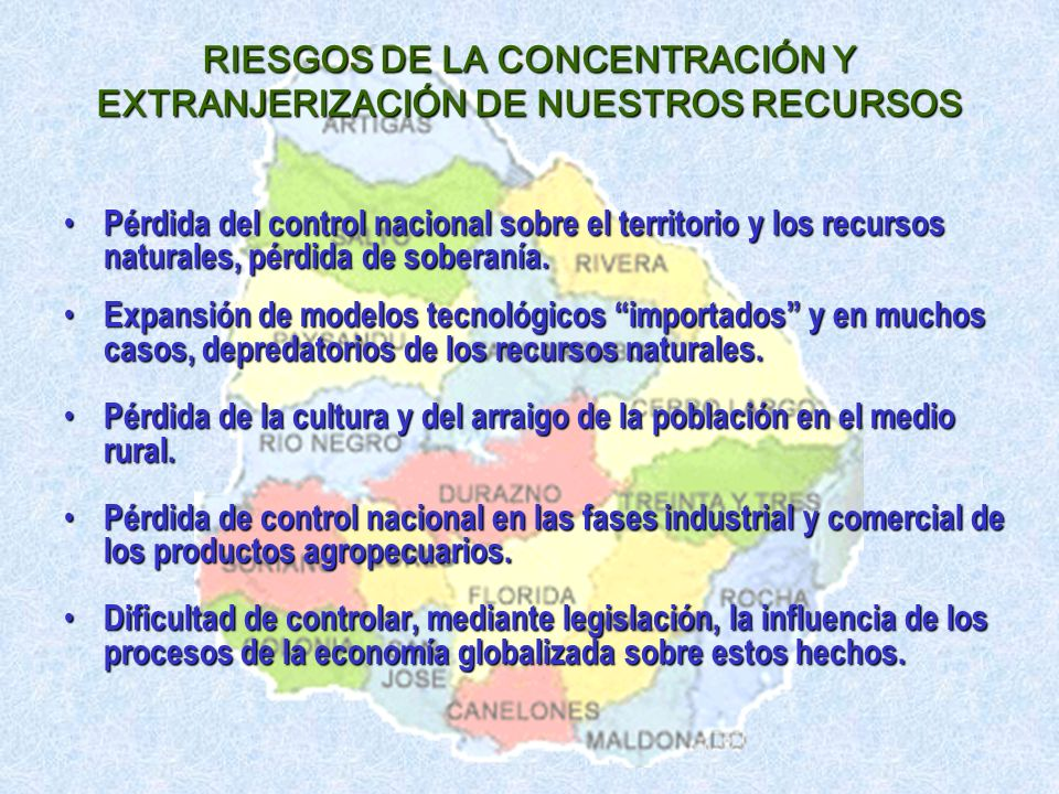 RIESGOS DE LA CONCENTRACIÓN Y EXTRANJERIZACIÓN DE NUESTROS RECURSOS