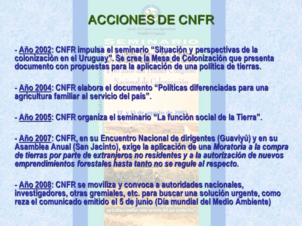ACCIONES DE CNFR