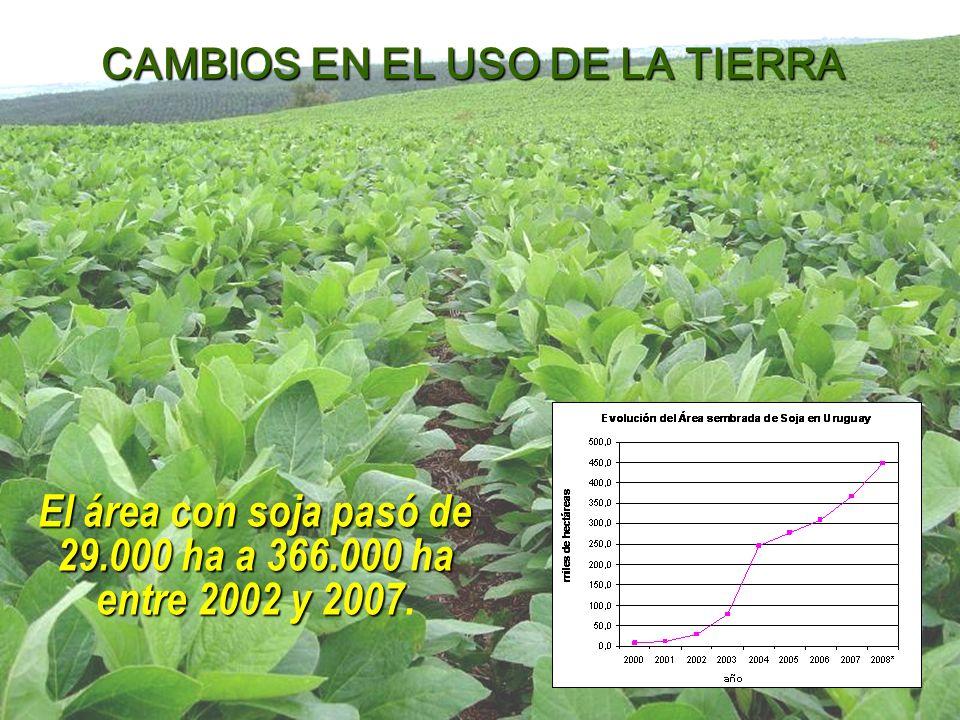 El área con soja pasó de 29.000 ha a 366.000 ha entre 2002 y 2007.