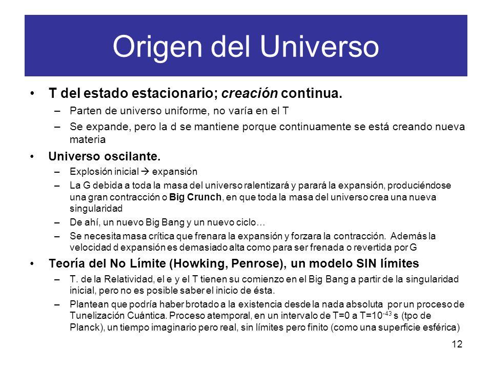 Origen del Universo T del estado estacionario; creación continua.