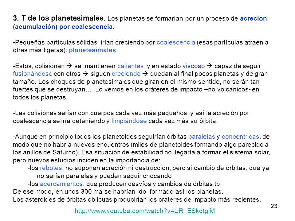 3. T de los planetesimales