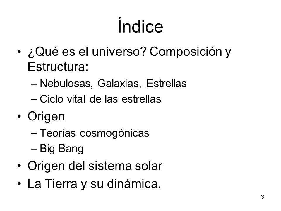Índice ¿Qué es el universo Composición y Estructura: Origen
