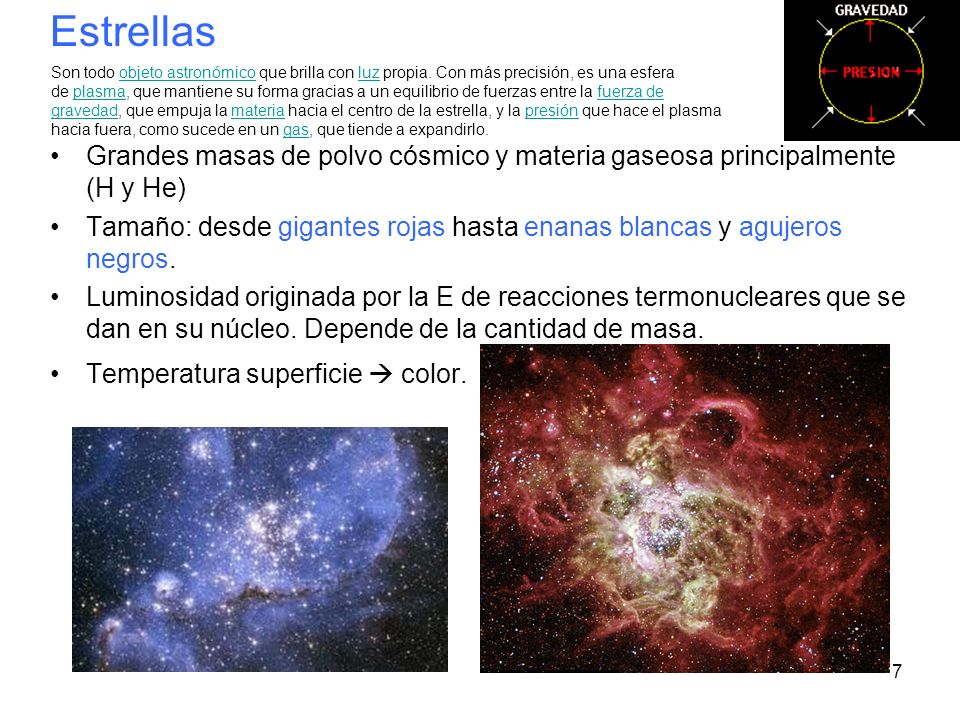Estrellas Grandes masas de polvo cósmico y materia gaseosa principalmente (H y He)