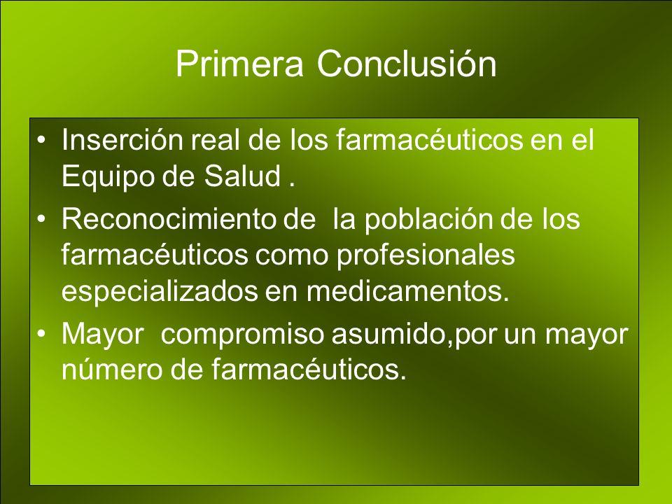Primera Conclusión Inserción real de los farmacéuticos en el Equipo de Salud .