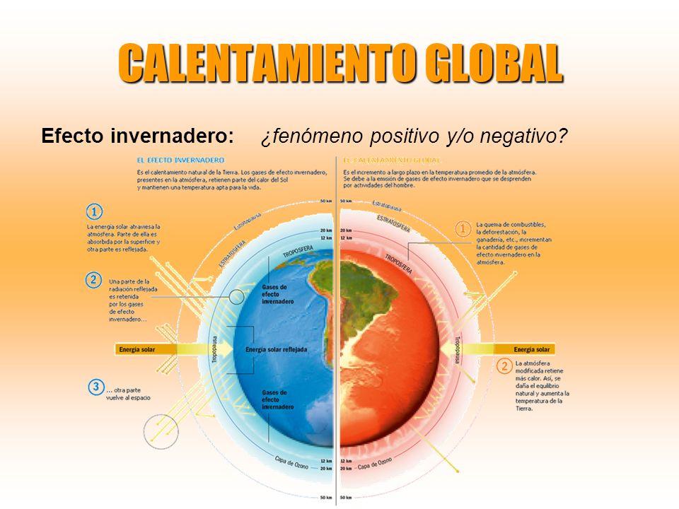 CALENTAMIENTO GLOBAL Efecto invernadero: ¿fenómeno positivo y/o negativo