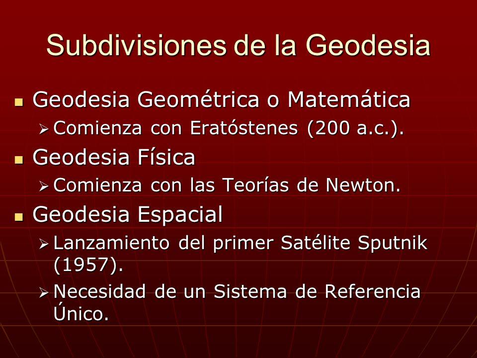 Subdivisiones de la Geodesia