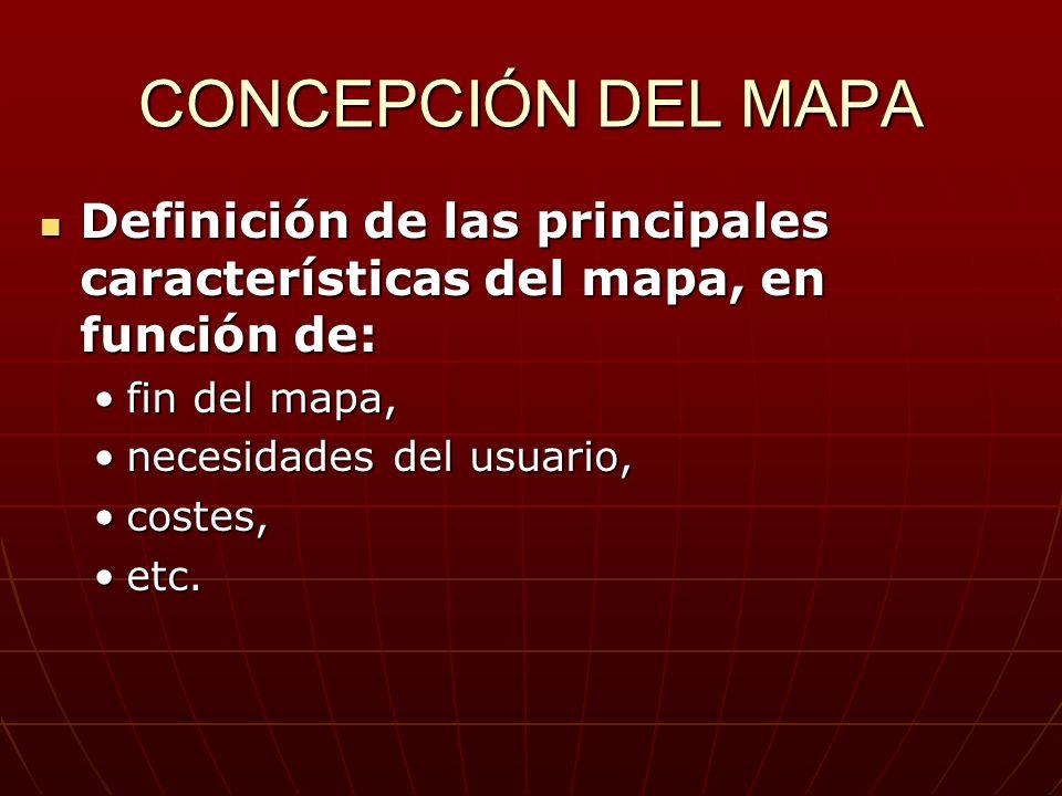 CONCEPCIÓN DEL MAPA Definición de las principales características del mapa, en función de: fin del mapa,