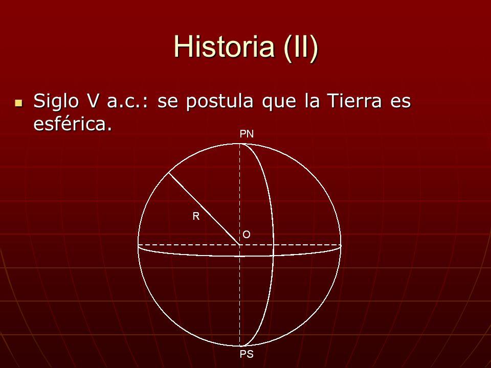 Historia (II) Siglo V a.c.: se postula que la Tierra es esférica.