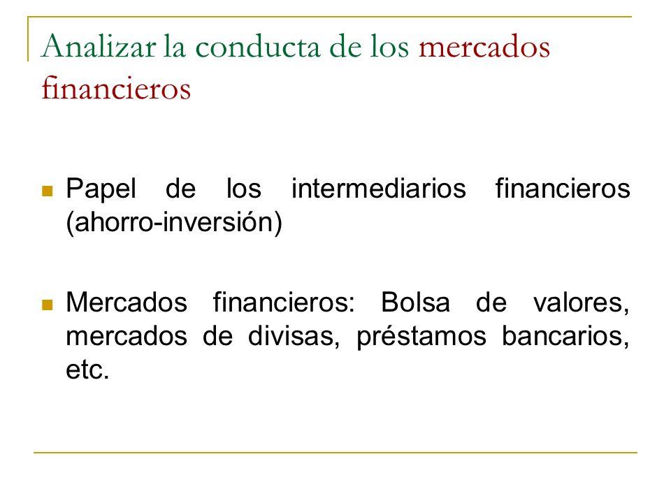 Analizar la conducta de los mercados financieros