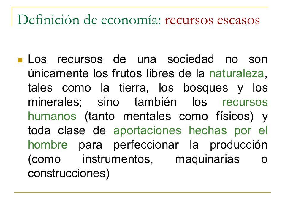 Definición de economía: recursos escasos