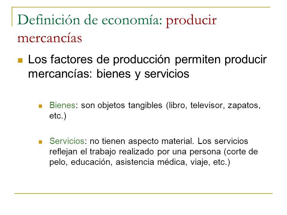Definición de economía: producir mercancías