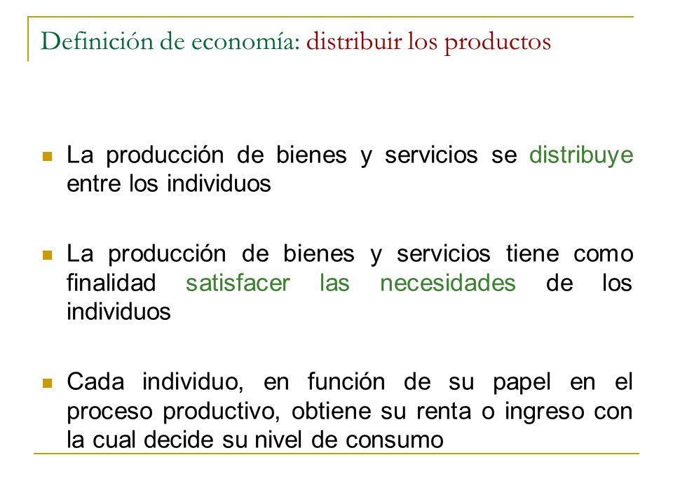 Definición de economía: distribuir los productos
