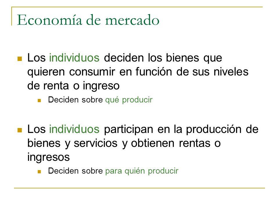 Economía de mercado Los individuos deciden los bienes que quieren consumir en función de sus niveles de renta o ingreso.