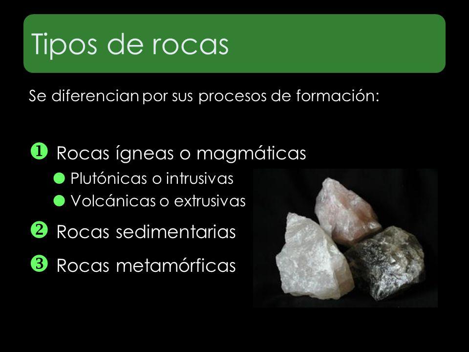Tipos de rocas  Rocas ígneas o magmáticas  Rocas sedimentarias