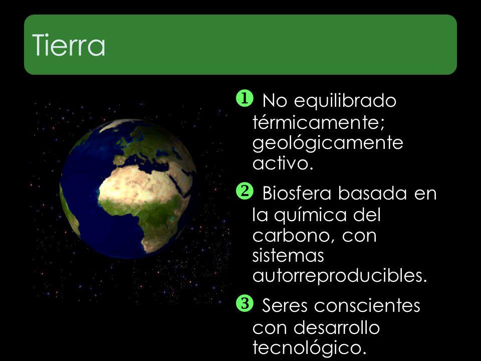 Tierra  No equilibrado térmicamente; geológicamente activo.