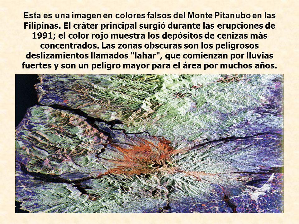 Esta es una imagen en colores falsos del Monte Pitanubo en las Filipinas.