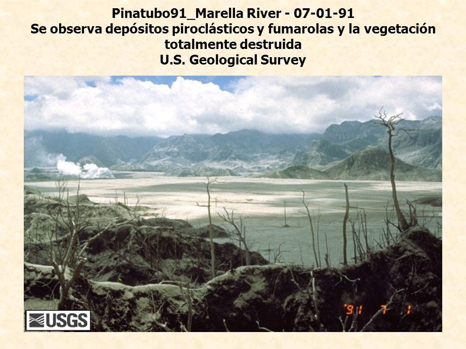 Pinatubo91_Marella River - 07-01-91 Se observa depósitos piroclásticos y fumarolas y la vegetación totalmente destruida U.S.