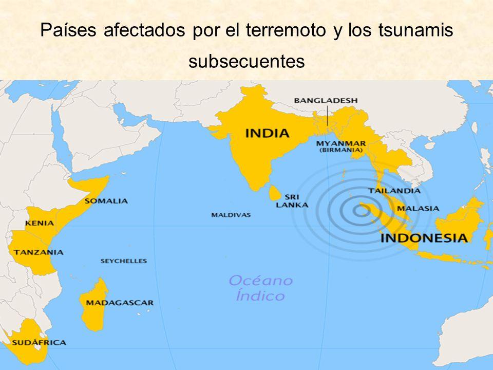 Países afectados por el terremoto y los tsunamis subsecuentes