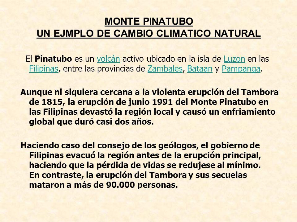MONTE PINATUBO UN EJMPLO DE CAMBIO CLIMATICO NATURAL