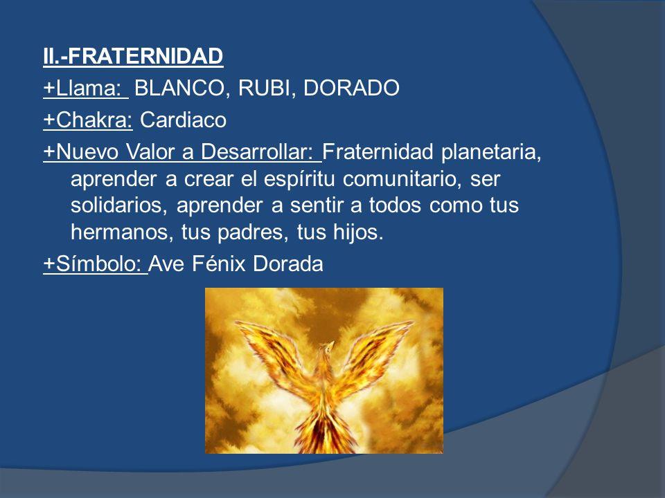 II.-FRATERNIDAD +Llama: BLANCO, RUBI, DORADO. +Chakra: Cardiaco.