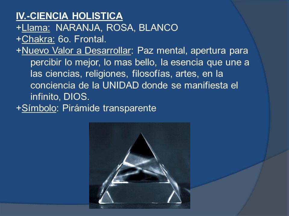 IV. -CIENCIA HOLISTICA +Llama: NARANJA, ROSA, BLANCO +Chakra: 6o