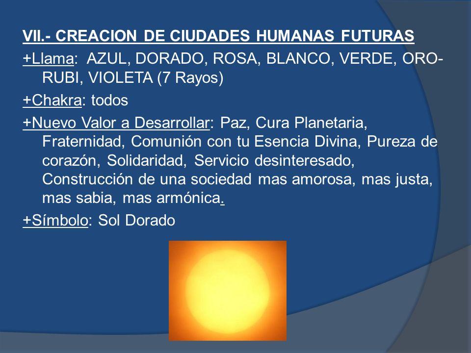 VII.- CREACION DE CIUDADES HUMANAS FUTURAS +Llama: AZUL, DORADO, ROSA, BLANCO, VERDE, ORO-RUBI, VIOLETA (7 Rayos) +Chakra: todos +Nuevo Valor a Desarrollar: Paz, Cura Planetaria, Fraternidad, Comunión con tu Esencia Divina, Pureza de corazón, Solidaridad, Servicio desinteresado, Construcción de una sociedad mas amorosa, mas justa, mas sabia, mas armónica.