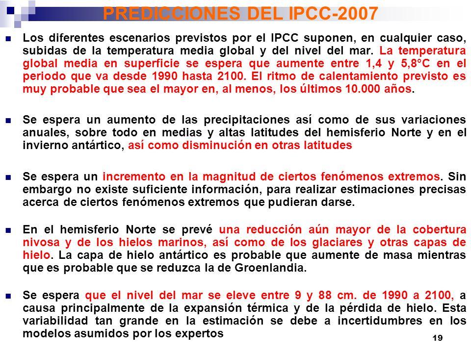 PREDICCIONES DEL IPCC-2007